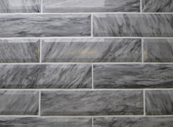 Marmo Bardiglio Marble Dark Grey Bevel 300x75