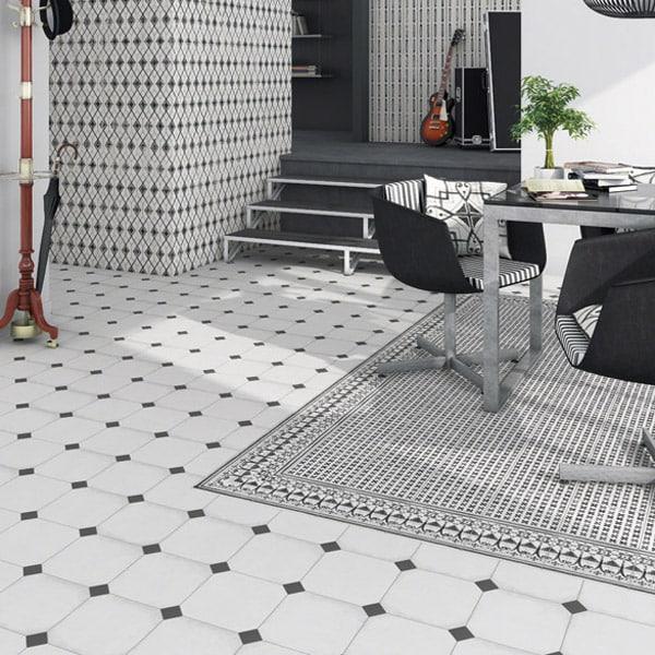 Matt Off White Georgian Octagonal Tile Amp Black Taco Dot