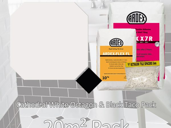 Octagon Cathedral White & Black Taco20m2 Pack