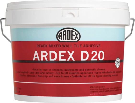 Ardex D20 Wall Tile Adhesive 10Ltr Bucket