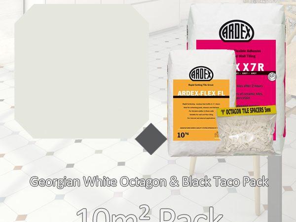Octagon Georgian White & Black Taco 10m2 Pack