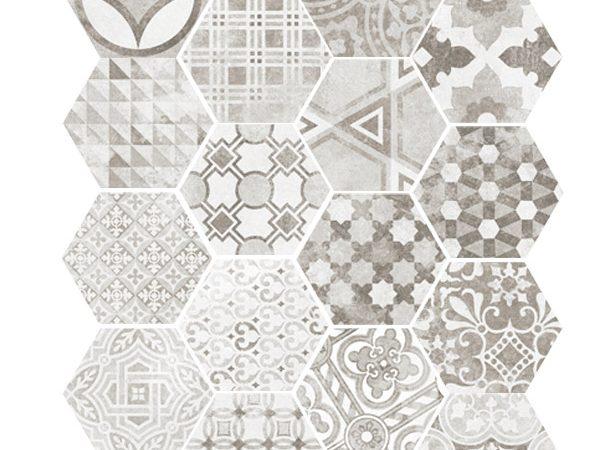 Hexagon Cement Grey Random 175x200x8mm