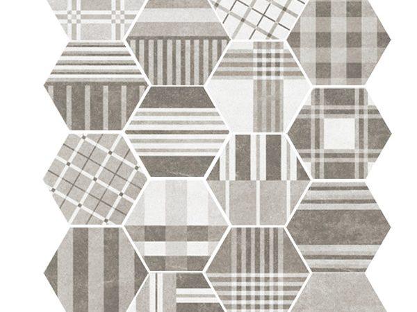 Hexagon Cement Geo Grey Random 175x200x8mm