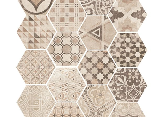 Hexagon Cement Beige Random 175x200x8mm