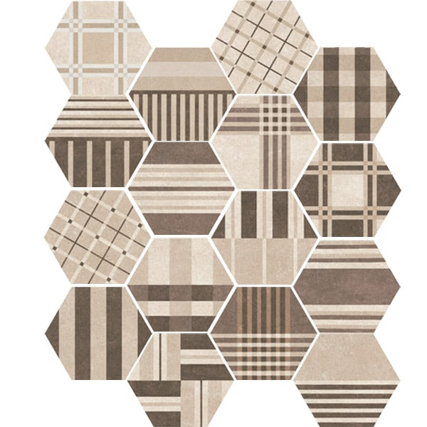 Hexagon Cement Geo Beige Random 175x200x8mm