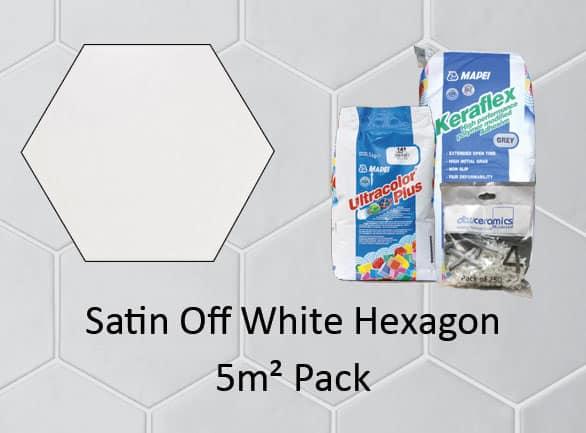 Hexagon Satin Off White 5M2 Pack