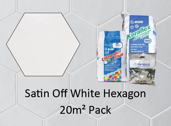 Hexagon Satin Off White 20M2 Pack