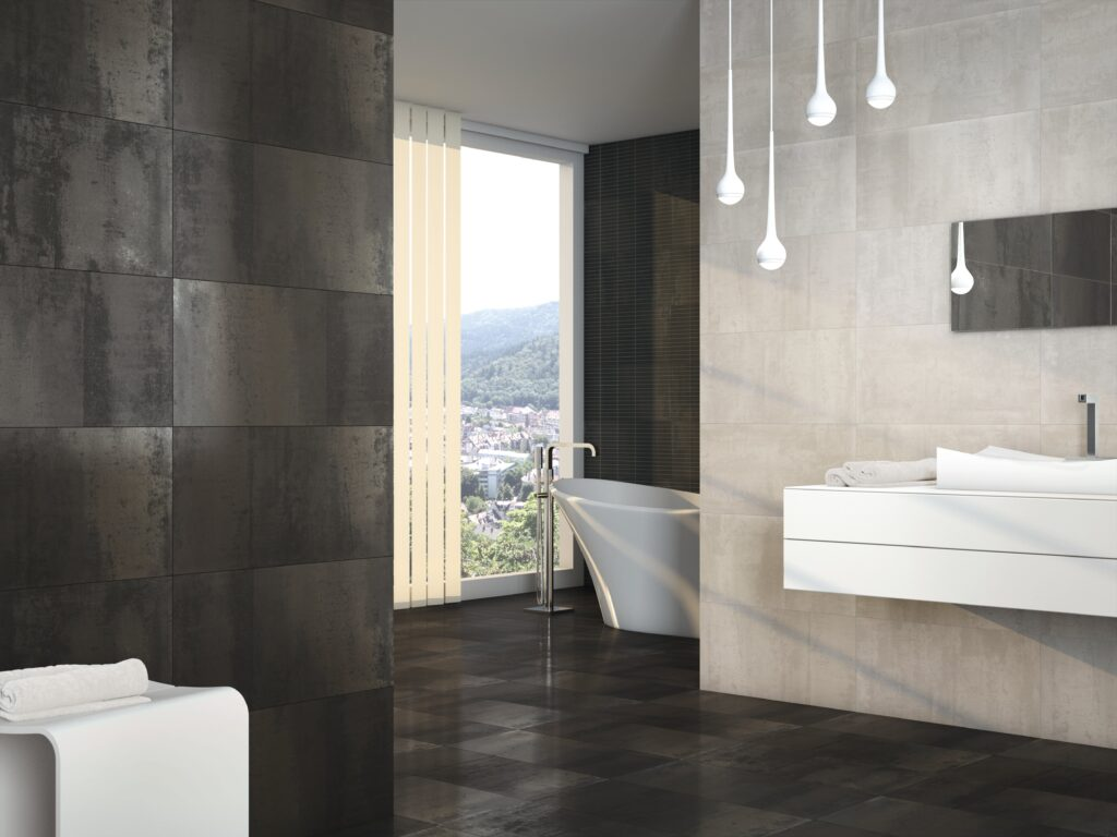 metallic effect tiles bathroom