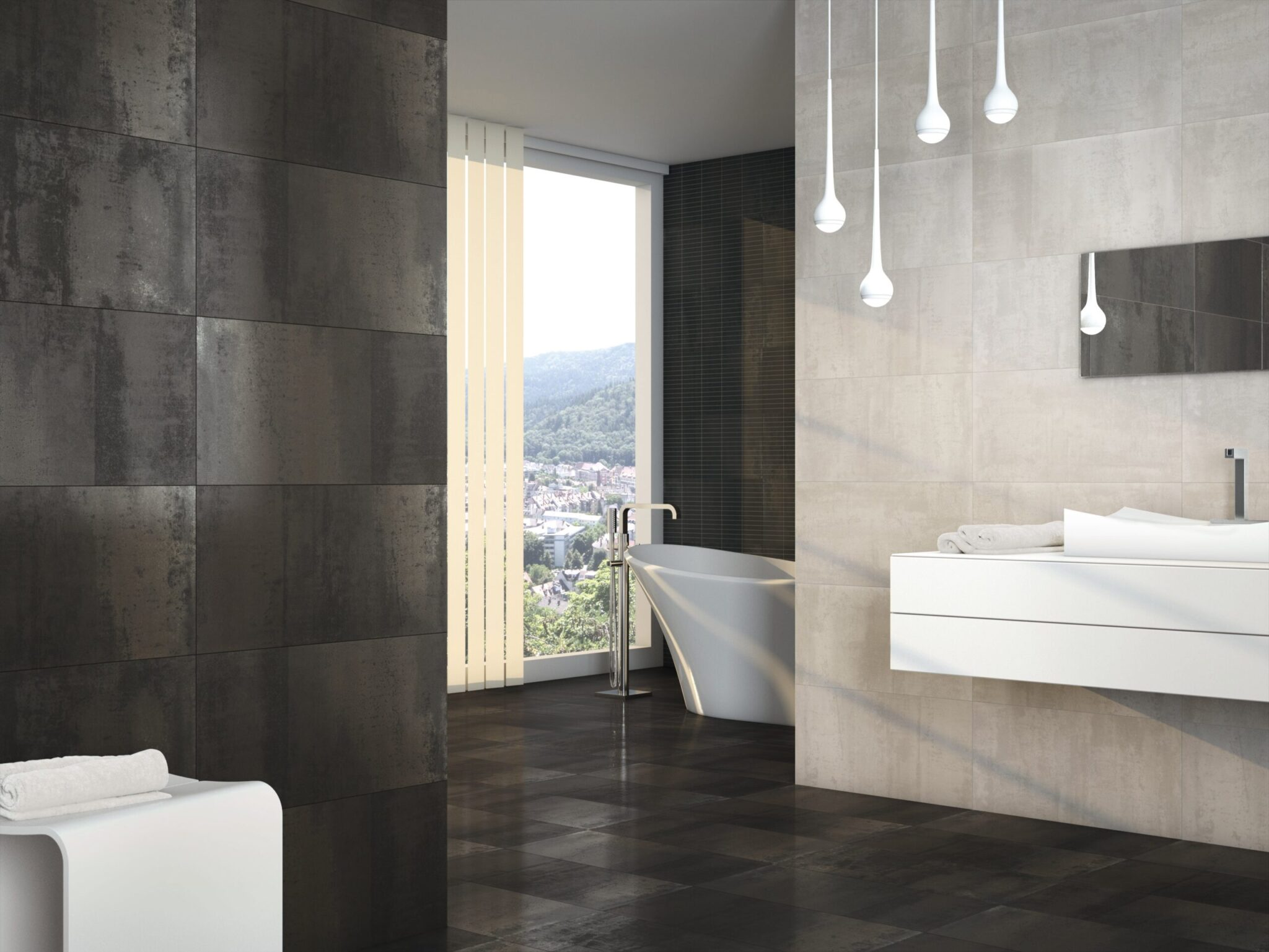 metallic effect tiles bathroom