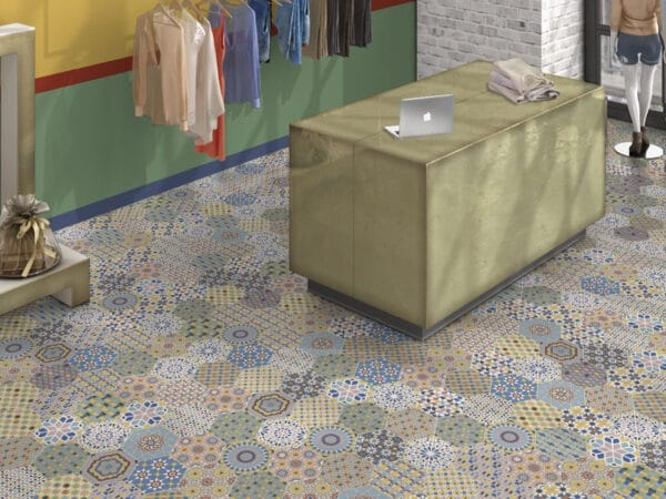 Orient Patterned Hexagonal Floor Tiles