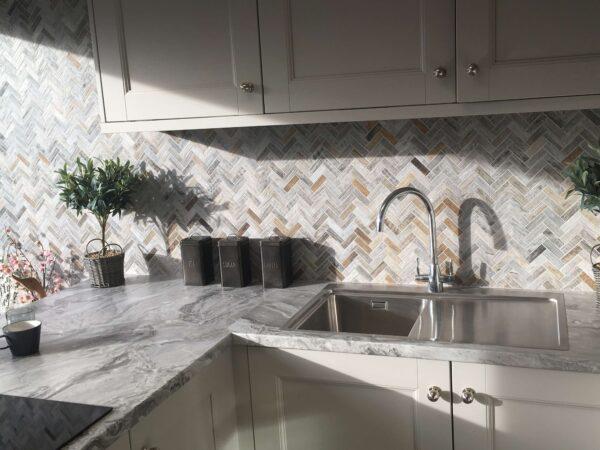 Thick wood effect tiles set as a kitchen splashback