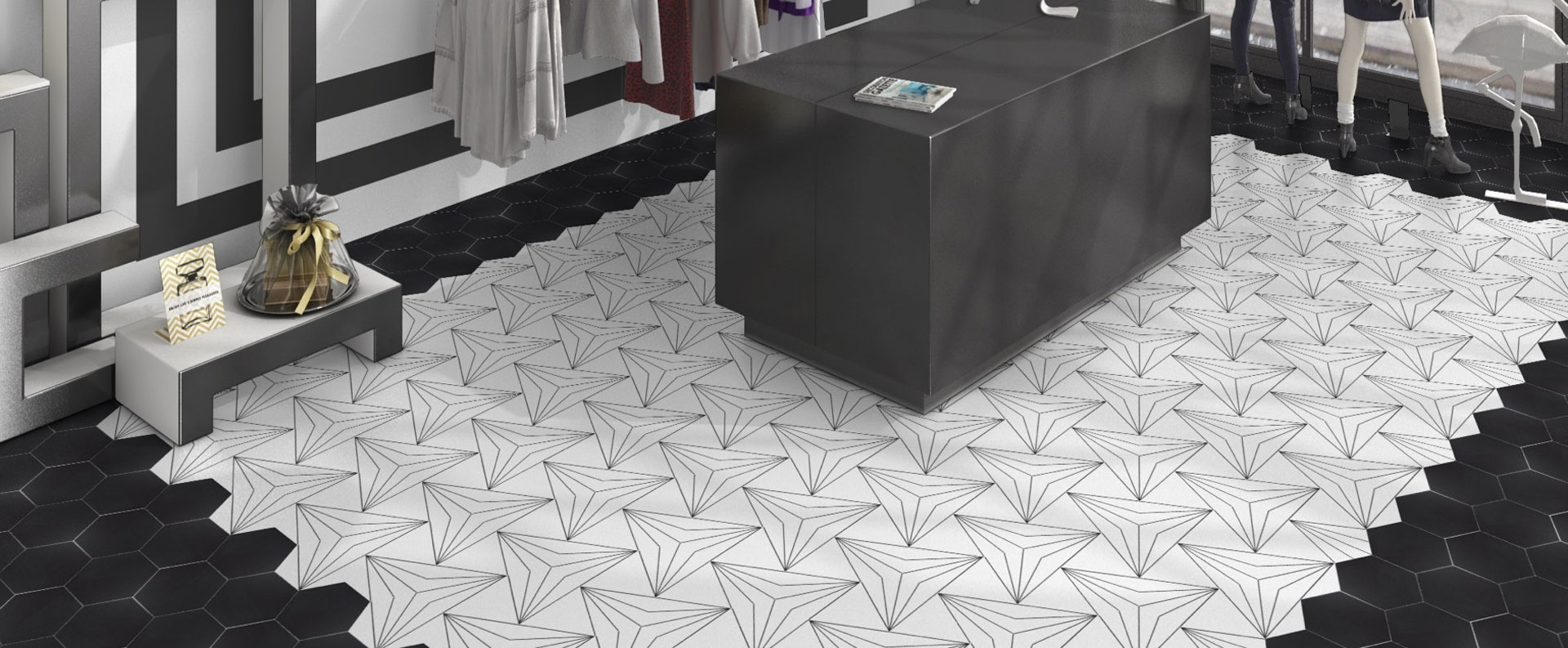 Chic shop setting showing Axis Patterned Hexagon tiles
