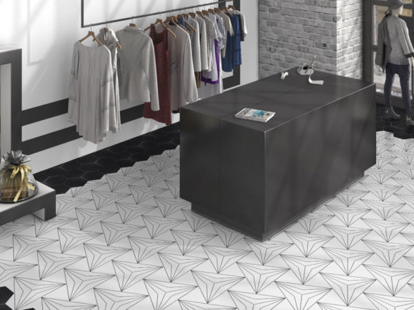 Axis Hexagon Patterned Floor Tiles
