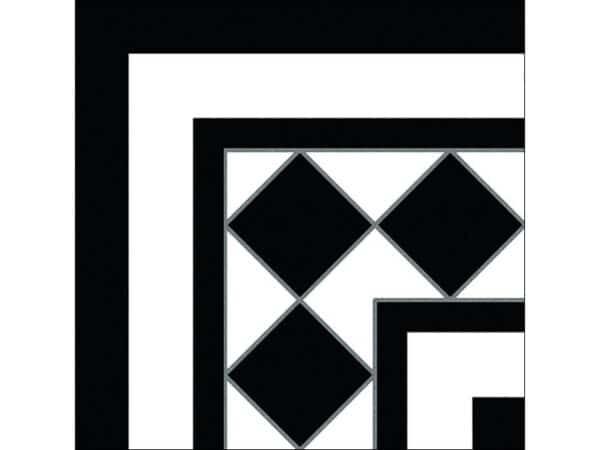 Castle Black & White Corner Floor Tile