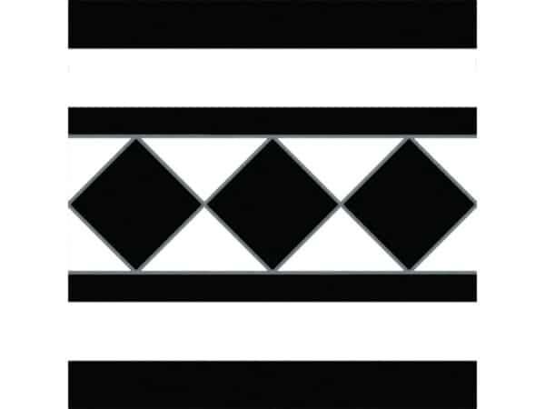 castle black and white border tile