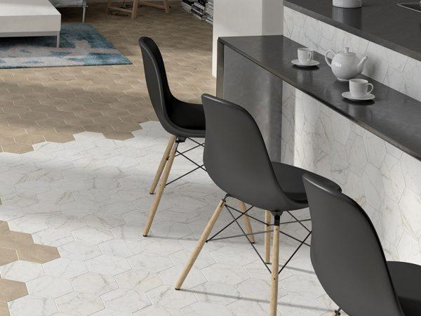 Carrara Matt Hexagon Floor Tiles