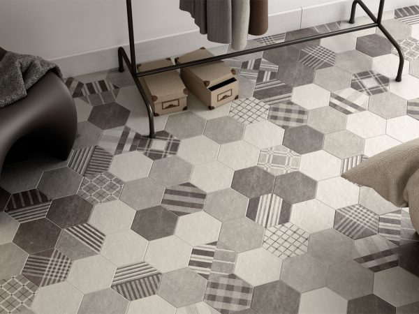 Cement Patterned Hexagon Floor Tiles