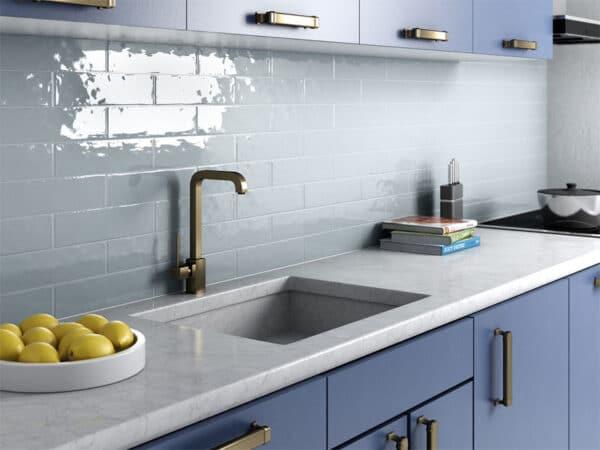 Blue metro tiles as a kitchen splashback