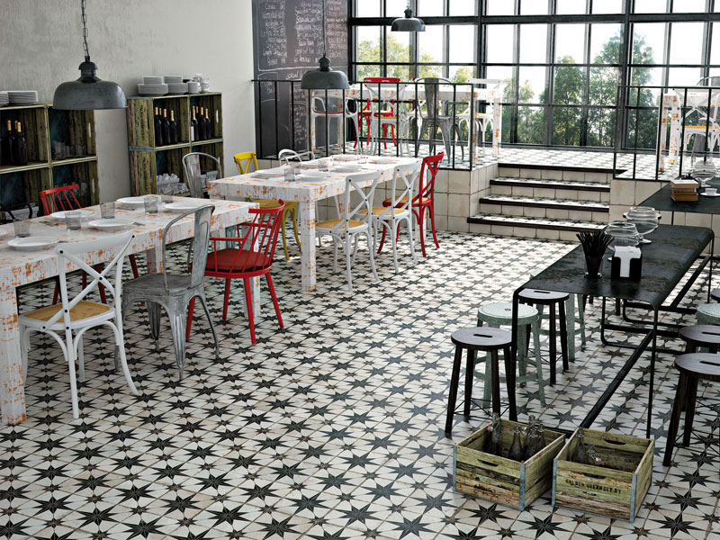 Best tiles for underfloor heating - FS Star Patterned floor tile in restaurant setting